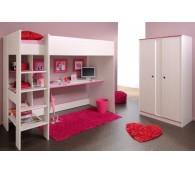 PARISOT 2223-0024 Hochbett Smoozy und 2-trg. Schrank in kiefer-weiss pink/blau