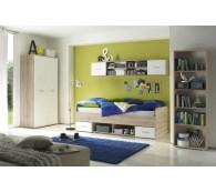BEGA 22-172-A5 Jugendzimmer 4-tlg. Nanu in Eiche Sanremo-Hell / Abs. Weiss